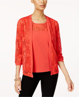 Alfred Dunner Saratoga Springs Mesh Layered-Look Top