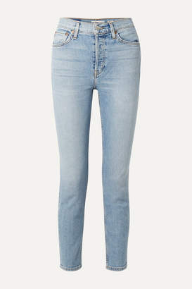 RE/DONE Comfort Stretch Cropped High-rise Skinny Jeans - Light denim