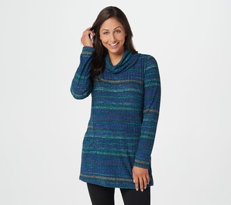 Susan Graver Weekend Printed Ribbed Knit Cowl Neck Tunic