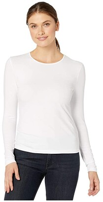 Lilla P Stretch Layering Long Sleeve Crew Neck Tee (White) Women's Clothing