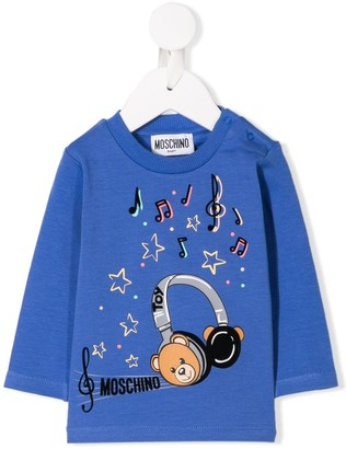 MOSCHINO BAMBINO Bear Headphones Print Sweatshirt