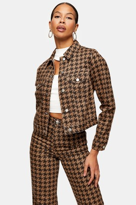 Topshop Womens Brown Houndstooth Print Denim Fitted Jacket - Brown