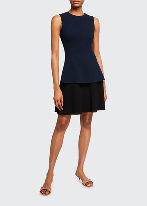 Oscar de la Renta Two-Tone Wool-Crepe Day Dress