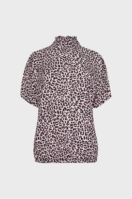 Coast Shirred Neck Animal Print Top