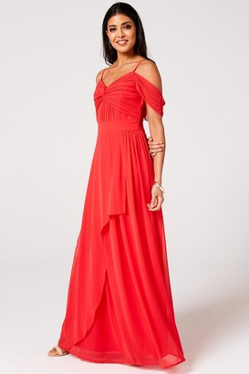 N. Rock Roll Bride Rock Roll Bride Cameo Fiery Coral Draped Maxi Dress
