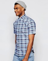 Polo Ralph Lauren Shirt In Slim Fit Blue Check Short Sleeves
