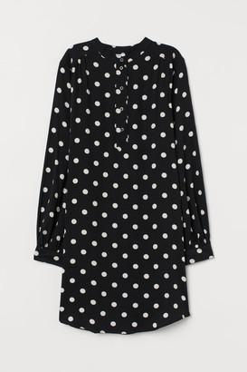 H&M Balloon-sleeved Dress - Black