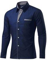 BSNQA Mens Slim Fit Cotton Flannel Tailored Dress Shirt (L, )