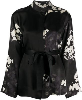 McQ Floral Print Mandarin Collar Shirt