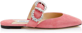 Jimmy Choo GEE FLAT Candyfloss Suede Flat Sandal with Jewelled Buckle