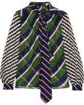 Mary Katrantzou Veddar Pussy-bow Printed Silk-georgette Blouse - Green