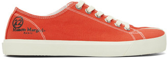 Maison Margiela Red Canvas Tabi Sneakers