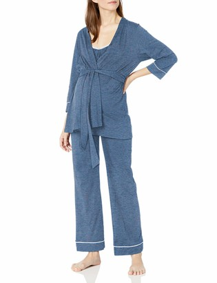 Belabumbum Women's Lounge Chic Maternity and Nursing Pajama + Robe Set