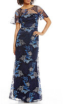 David Meister Embroidered Lace Short-Sleeve Gown
