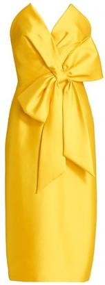 Badgley Mischka Scupture Bow-Front Strapless Dress1