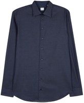 Armani Collezioni Navy Micro-dot Cotton Shirt