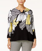 Alfred Dunner Plus Size Floral-Print Embellished Sweater