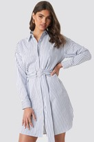 NA-KD O-ring Striped Shirt Dress Blue