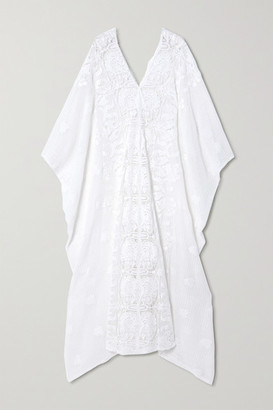 Miguelina Rachel Crocheted Cotton Kaftan - White