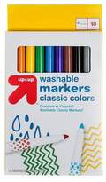Markers Fine Tip Washable Classic Colors 10ct (Compare to Crayola® Washable Classic Markers) - Up&Up