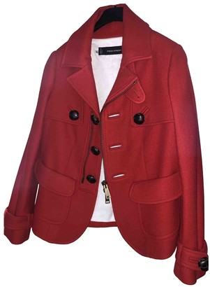 DSQUARED2 Red Wool Coats