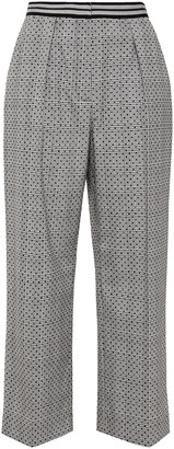 Claudie Pierlot Cropped Flocked Prince Of Wales Checked Woven Wide-leg Pants