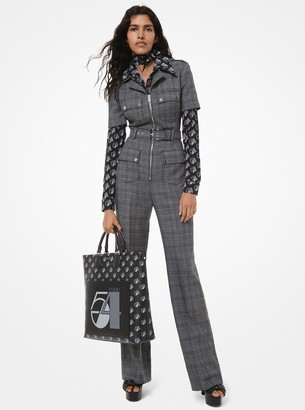 Michael Kors Glen Plaid Wool Utility Jumpsuit
