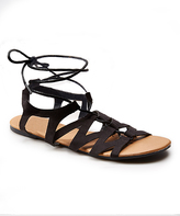 Wet Seal Black Lace-Up Sandal