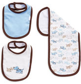 Little Me Three-Piece Puppy Bib And Cloth Set