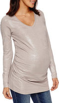A.N.A a.n.a Long Sleeve V Neck T-Shirt-Womens Maternity