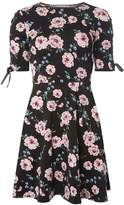 Dorothy Perkins Petite Black Floral Print Fit and Flare Dress