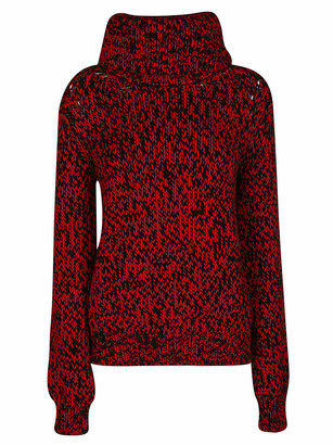 Mulberry Red And Black Wool Sweater