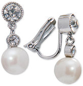 Lauren Ralph Lauren Silver-Tone Imitation Pearl and Crystal Drop Clip-on Earrings
