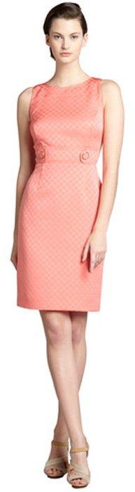 Tahari ASL coral checkered jacquard button tabbed sleeveless dress