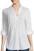 Almost Famous 3/4-Sleeve Lace-Up Knit Shirt - Juniors