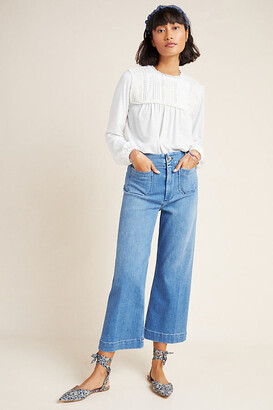 Pilcro And The Letterpress Pilcro Ultra High-Rise Cropped Wide-Leg Jeans By in Blue Size 25