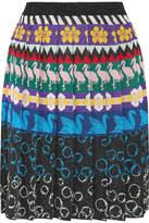 Mary Katrantzou Mandy Pleated Metallic Stretch-knit Skirt - Blue