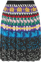 Mary Katrantzou Mandy Pleated Metallic Stretch-knit Skirt