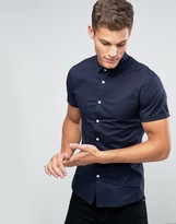 Asos Skinny Shirt In Navy With Short Sleeves