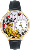 Whimsical Watches Personalized Veterinarian Womens Gold-Tone Bezel Black Leather Strap Watch