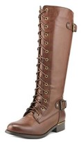 Wanted Cocktail Women Round Toe Synthetic Brown Knee High Boot.