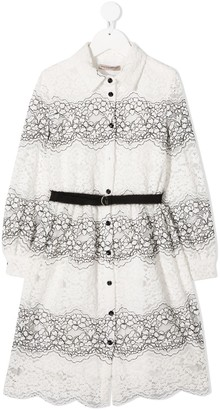 Ermanno Scervino Lace-Embroidered Shirt Dress