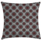"Burgundy Moroccan Flower Rose Square Pillow Cover East Urban Home Size: 16"" x 16"""