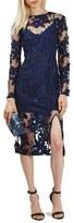 Topshop Women's Floral Applique Long Sleeve Midi Dress