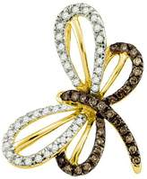 DazzlingRock Collection 0.28 Carat (ctw) 10k Yellow Gold White & Diamond Ladies Butterfly Pendant