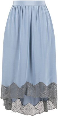 Zadig & Voltaire Lace-Trim Silk Midi Skirt
