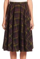 Maison Margiela Pleated Tartan Wool Skirt