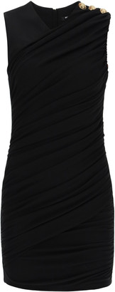 Balmain DRAPED SHORT DRESS 36 Black
