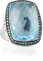 Jude Frances Provence 18k Blue Topaz & Diamond Cushion Cocktail Ring, Size 6.5