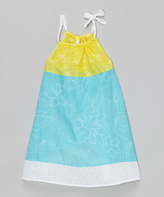 Mulberribush Turquoise & Yellow Embroidered Dress - Toddler & Girls